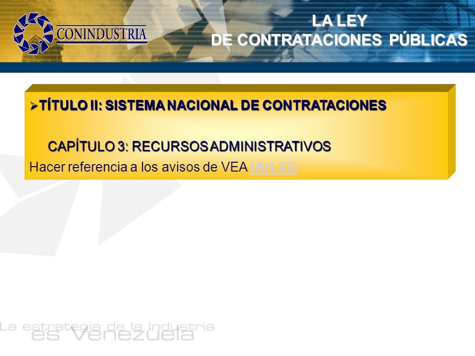 LA LEY DE CONTRATACIONES PÚBLICAS TÍTULO II: SISTEMA NACIONAL DE CONTRATACIONES TÍTULO II: SISTEMA NACIONAL DE CONTRATACIONES CAPÍTULO 3: RECURSOS ADM