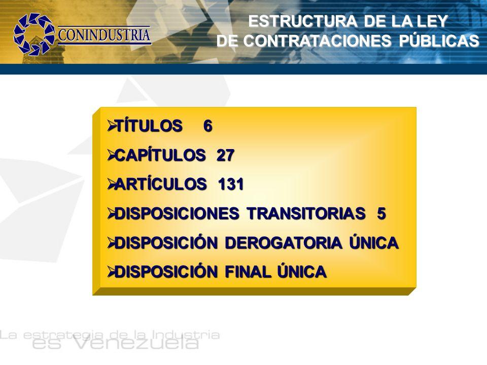 ESTRUCTURA DE LA LEY DE CONTRATACIONES PÚBLICAS TÍTULOS6 TÍTULOS6 CAPÍTULOS 27 CAPÍTULOS 27 ARTÍCULOS 131 ARTÍCULOS 131 DISPOSICIONES TRANSITORIAS 5 D
