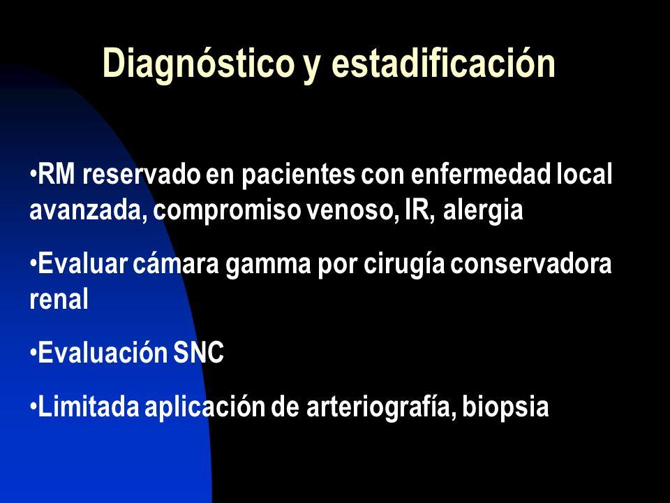 Diagnóstico y estadificación RM reservado en pacientes con enfermedad local avanzada, compromiso venoso, IR, alergia Evaluar cámara gamma por cirugía