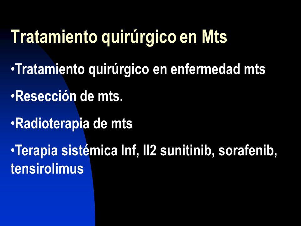 Tratamiento quirúrgico en Mts Tratamiento quirúrgico en enfermedad mts Resección de mts. Radioterapia de mts Terapia sistémica Inf, Il2 sunitinib, sor