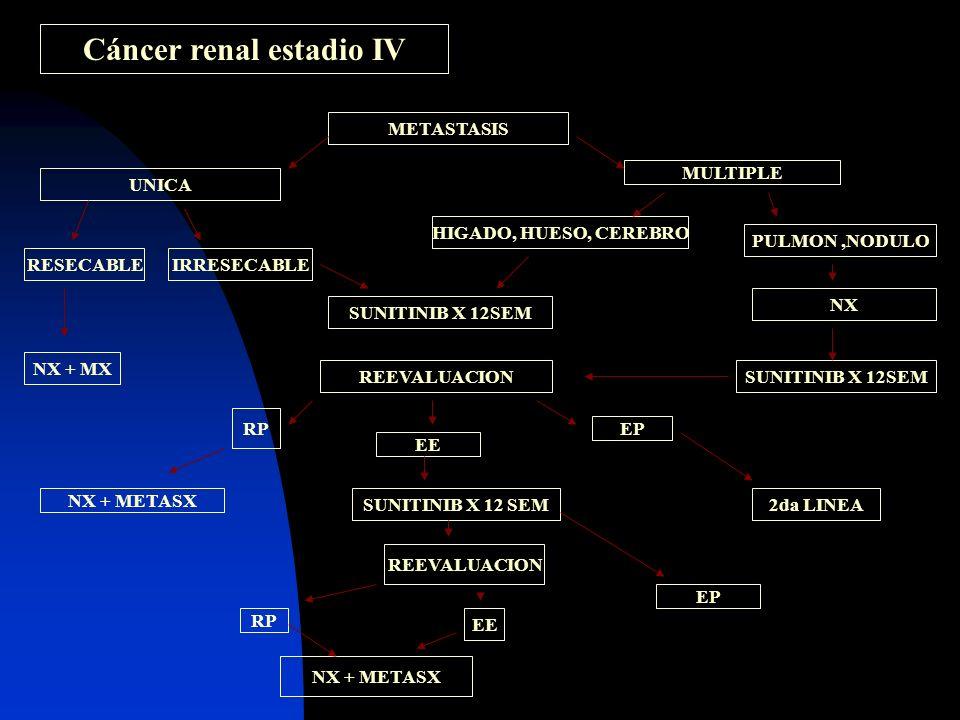 Cáncer renal estadio IV METASTASIS UNICA RESECABLEIRRESECABLE NX + MX MULTIPLE HIGADO, HUESO, CEREBRO PULMON,NODULO SUNITINIB X 12SEM REEVALUACION RP