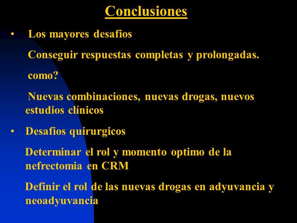 Conclusiones Los mayores desafios Conseguir respuestas completas y prolongadas. como? Nuevas combinaciones, nuevas drogas, nuevos estudios clínicos De