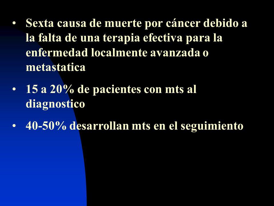 Sexta causa de muerte por cáncer debido a la falta de una terapia efectiva para la enfermedad localmente avanzada o metastatica 15 a 20% de pacientes