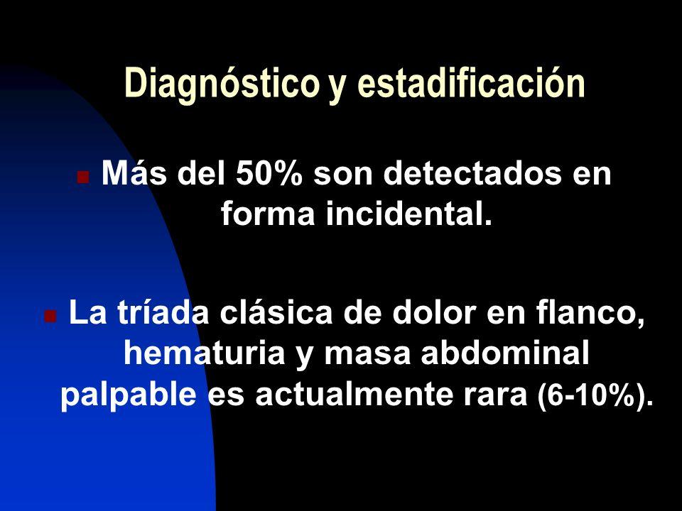 Diagnóstico y estadificación Más del 50% son detectados en forma incidental. La tríada clásica de dolor en flanco, hematuria y masa abdominal palpable