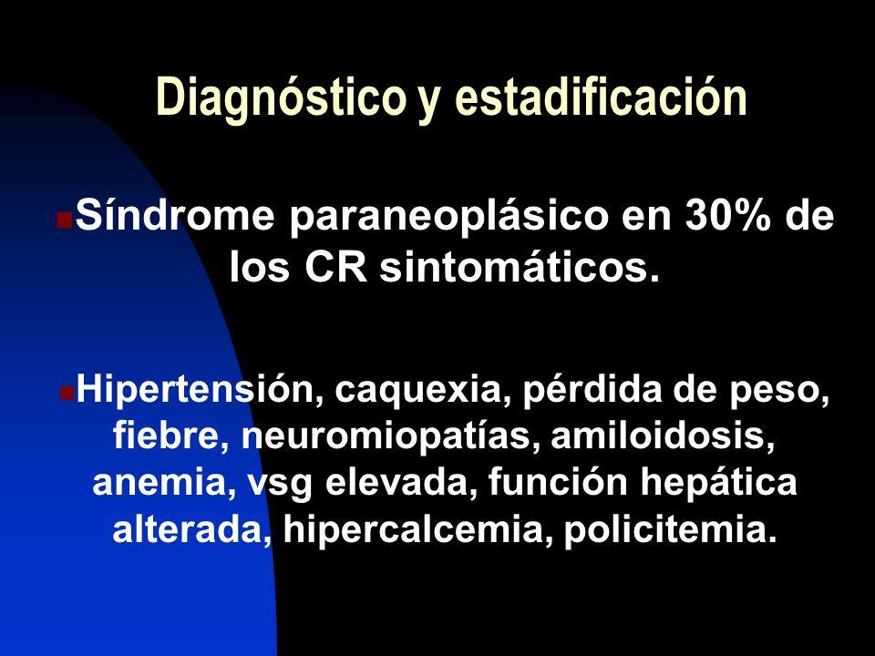 Diagnóstico y estadificación Síndrome paraneoplásico en 30% de los CR sintomáticos. Hipertensión, caquexia, pérdida de peso, fiebre, neuromiopatías, a