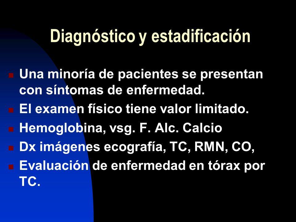 Diagnóstico y estadificación Una minoría de pacientes se presentan con síntomas de enfermedad. El examen físico tiene valor limitado. Hemoglobina, vsg