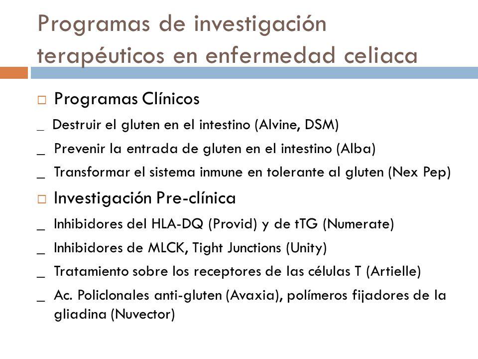 Tratamientos potenciales para la EC refractaria _ Corticoides, Inmunosupresores (Prometheus Salix) _ Mesalacina liberada en ID (Shire) _ Anti-IL-15 (Amgen Celonic