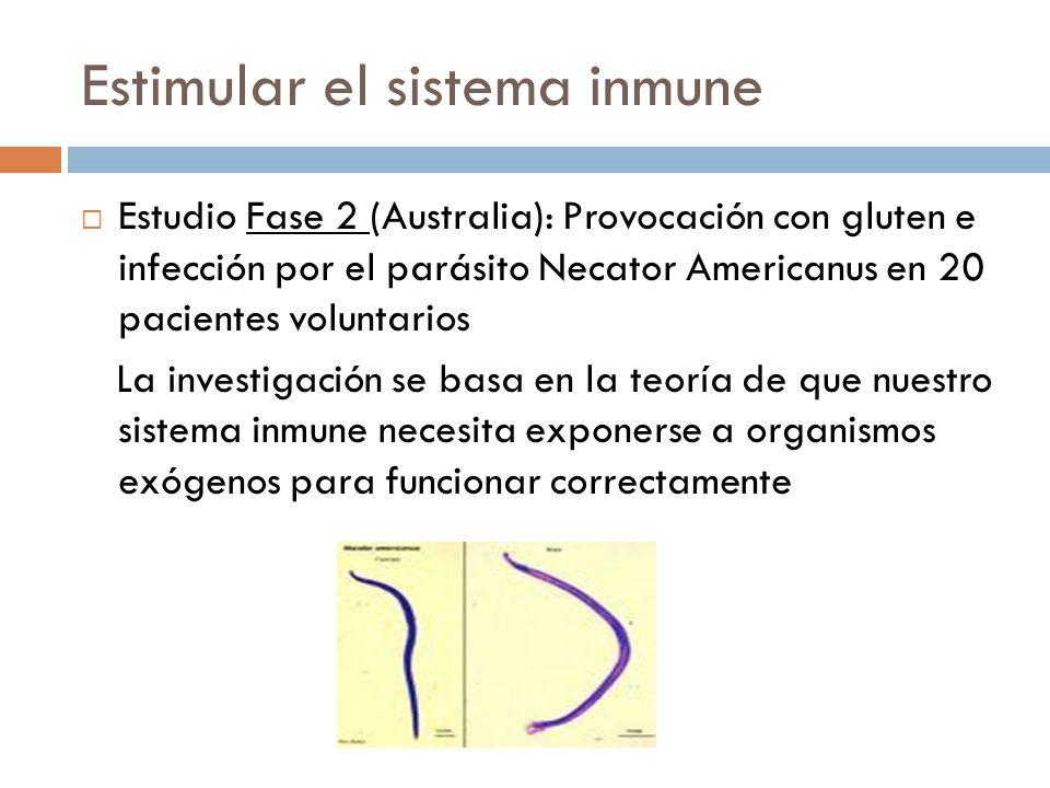 Necator Americanus Los pacientes huéspedes de parásitos vivos toleraron la provocación con gluten y puntuaron mejor en los tests comparados con los sujetos control sin parásitos.