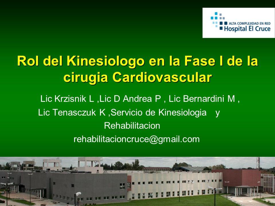 Rol del Kinesiologo en la Fase I de la cirugia Cardiovascular Lic Krzisnik L,Lic D Andrea P, Lic Bernardini M, Lic Tenasczuk K,Servicio de Kinesiologi