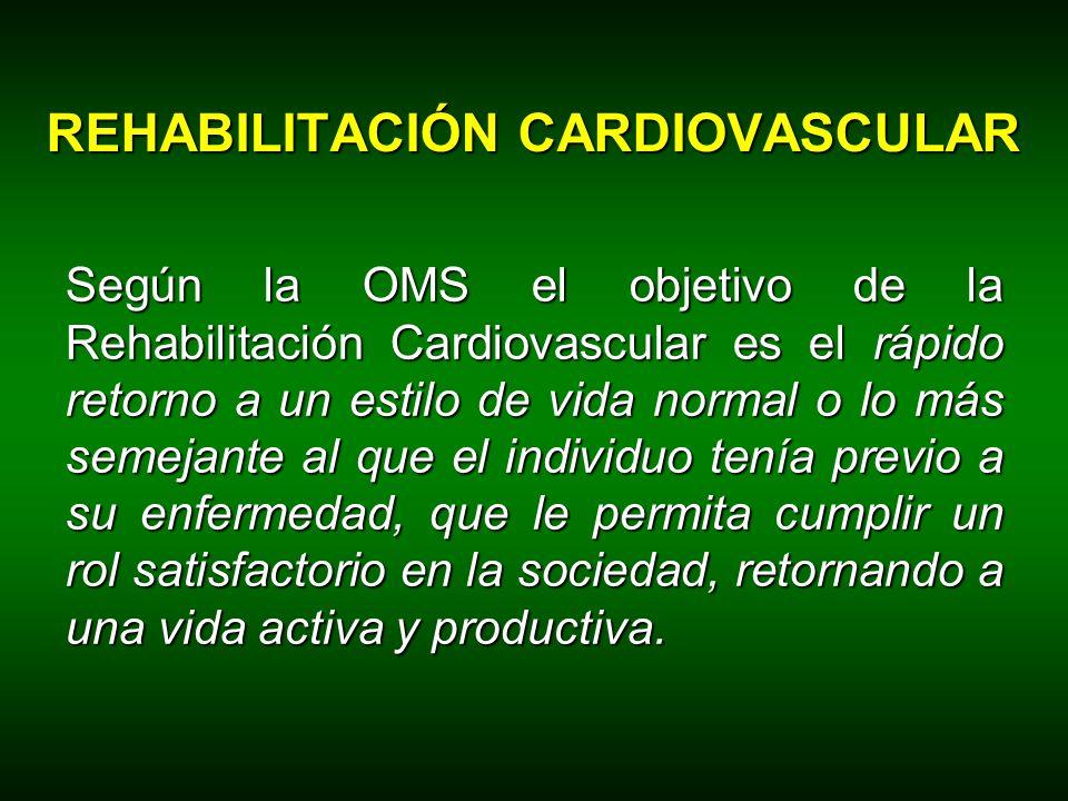 Según la OMS el objetivo de la Rehabilitación Cardiovascular es el rápido retorno a un estilo de vida normal o lo más semejante al que el individuo te