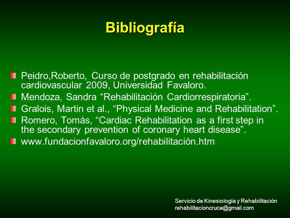 Bibliografía Peidro,Roberto, Curso de postgrado en rehabilitación cardiovascular 2009, Universidad Favaloro. Mendoza, Sandra Rehabilitación Cardiorres