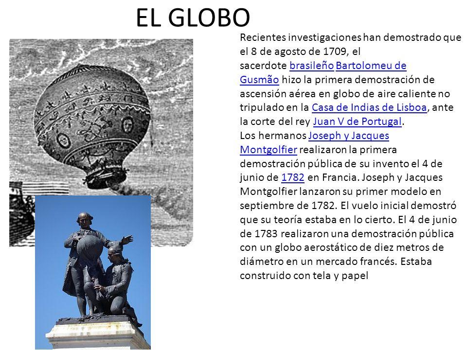 EL GLOBO Recientes investigaciones han demostrado que el 8 de agosto de 1709, el sacerdote brasileño Bartolomeu de Gusmão hizo la primera demostración