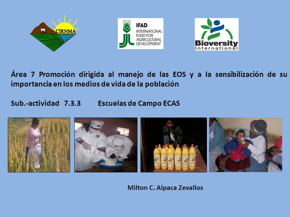 Milton C. Alpaca Zevallos Área 7 Promoción dirigida al manejo de las EOS y a la sensibilización de su importancia en los medios de vida de la població