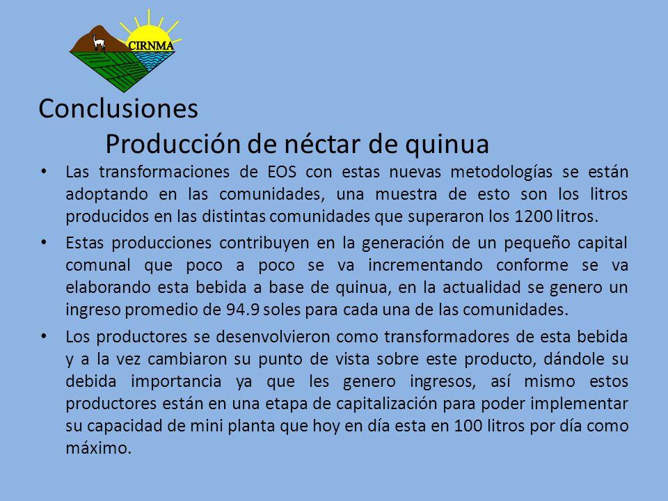 Conclusiones Producción de néctar de quinua Las transformaciones de EOS con estas nuevas metodologías se están adoptando en las comunidades, una muest