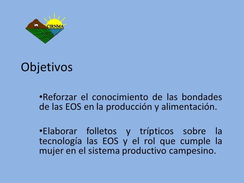 Objetivos Reforzar el conocimiento de las bondades de las EOS en la producción y alimentación. Elaborar folletos y trípticos sobre la tecnología las E