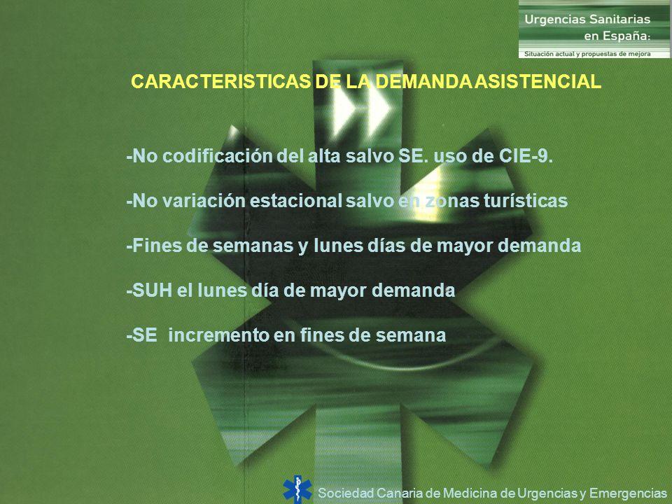 Sociedad Canaria de Medicina de Urgencias y Emergencias CARACTERISTICAS DE LA DEMANDA ASISTENCIAL -No codificación del alta salvo SE. uso de CIE-9. -N