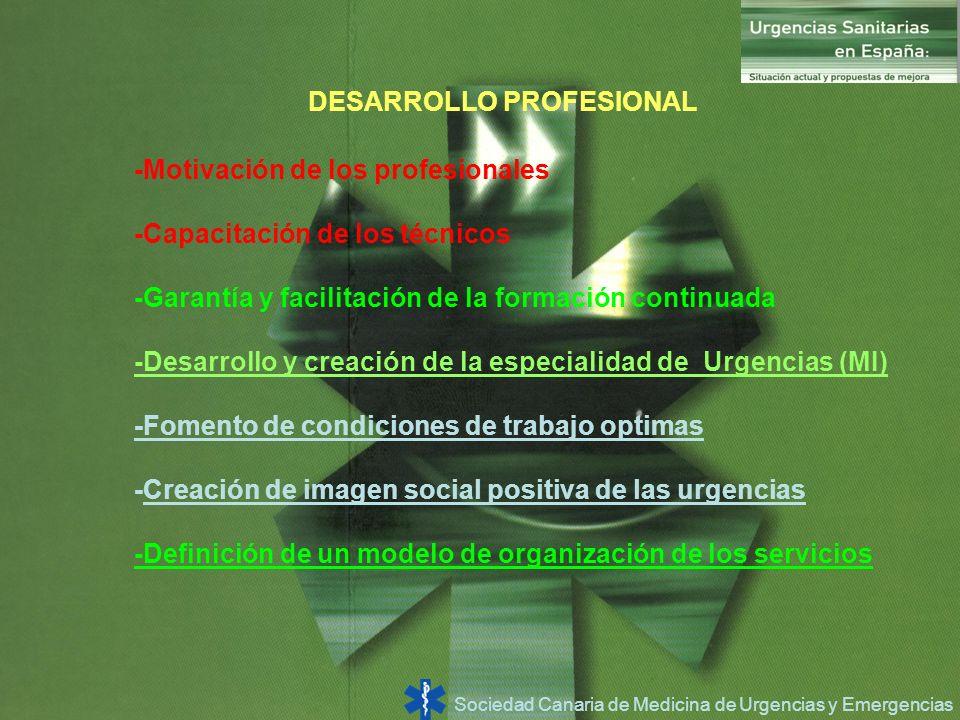 Sociedad Canaria de Medicina de Urgencias y Emergencias DESARROLLO PROFESIONAL -Motivación de los profesionales -Capacitación de los técnicos -Garantí