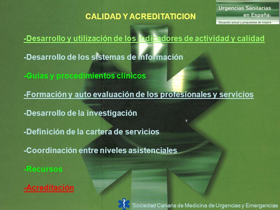 Sociedad Canaria de Medicina de Urgencias y Emergencias CALIDAD Y ACREDITATICION -Desarrollo y utilización de los indicadores de actividad y calidad -