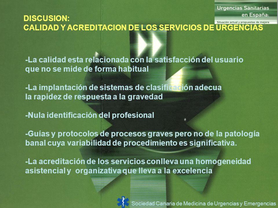 Sociedad Canaria de Medicina de Urgencias y Emergencias DISCUSION: CALIDAD Y ACREDITACION DE LOS SERVICIOS DE URGENCIAS -La calidad esta relacionada c