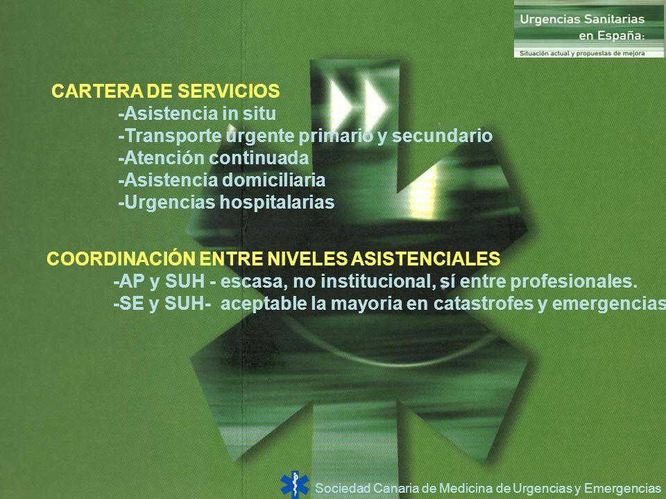 Sociedad Canaria de Medicina de Urgencias y Emergencias CARTERA DE SERVICIOS -Asistencia in situ -Transporte urgente primario y secundario -Atención c