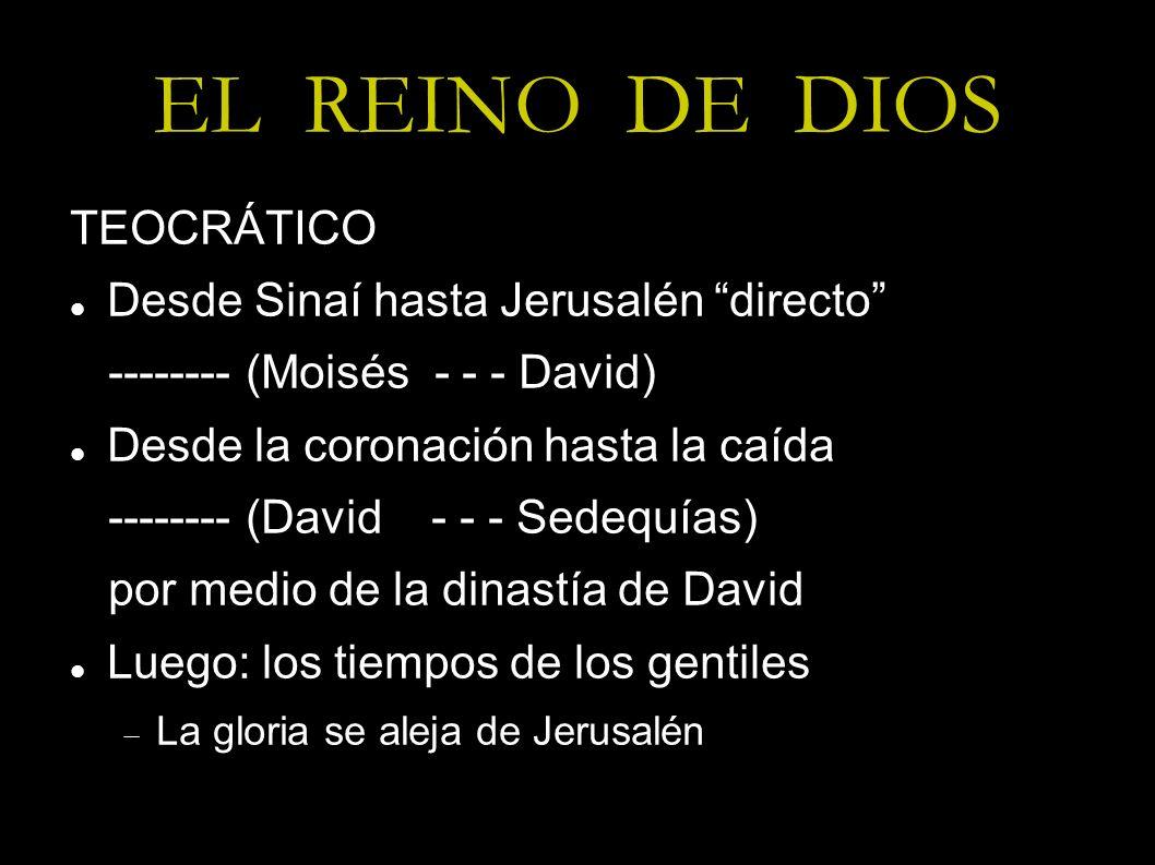 EL REINO DE DIOS TEOCRÁTICO Desde Sinaí hasta Jerusalén directo -------- (Moisés - - - David) Desde la coronación hasta la caída -------- (David - - -