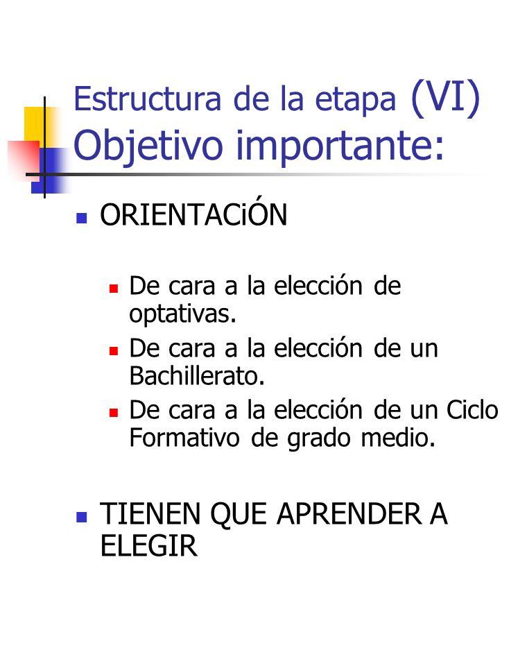 Estructura de la etapa (VI) Objetivo importante: ORIENTACiÓN De cara a la elección de optativas. De cara a la elección de un Bachillerato. De cara a l