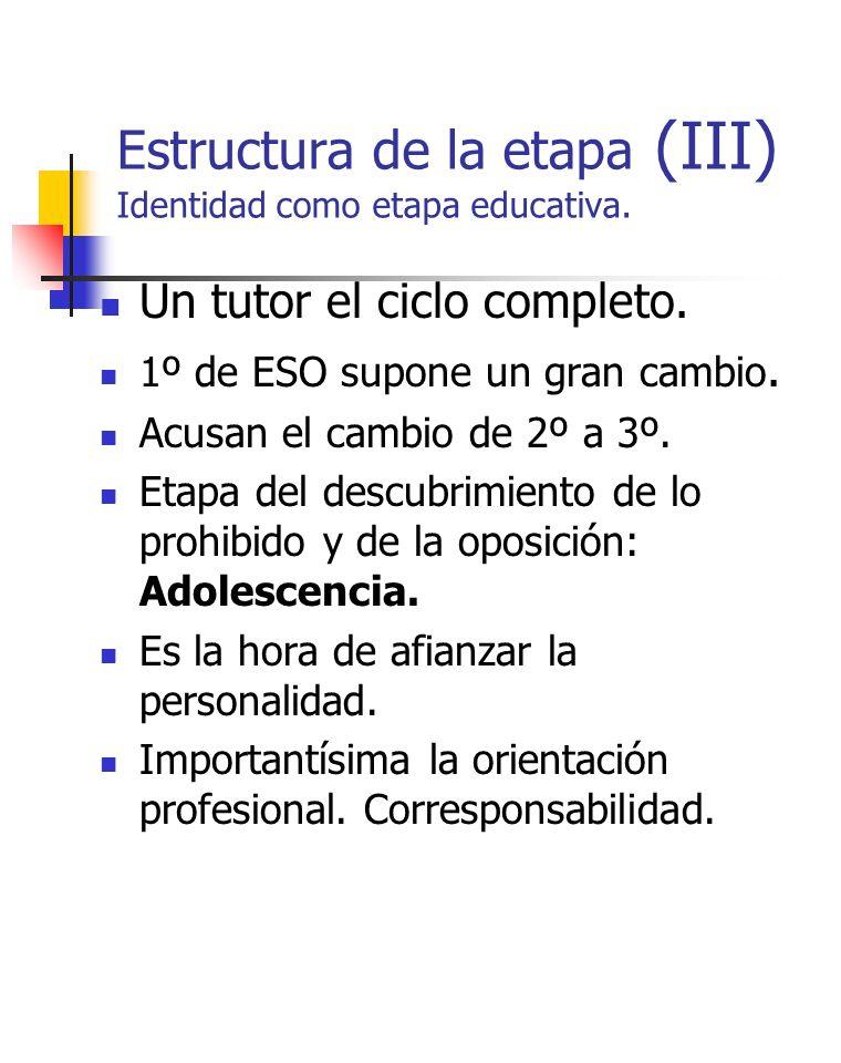 Estructura de la etapa (III) Identidad como etapa educativa. Un tutor el ciclo completo. 1º de ESO supone un gran cambio. Acusan el cambio de 2º a 3º.