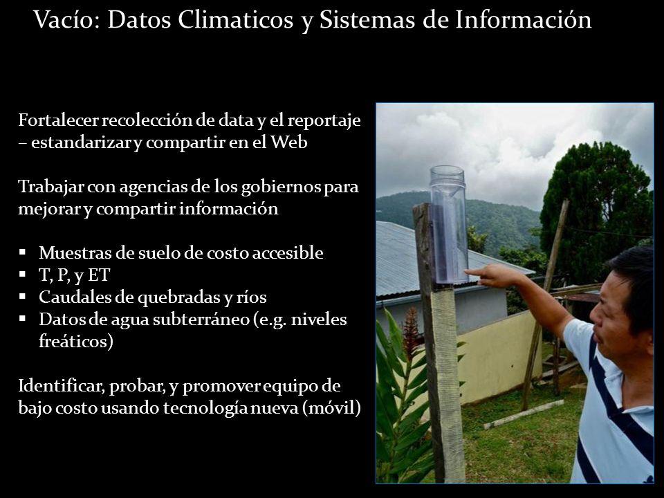 . Vacío: Datos Climaticos y Sistemas de Información Fortalecer recolección de data y el reportaje – estandarizar y compartir en el Web Trabajar con ag