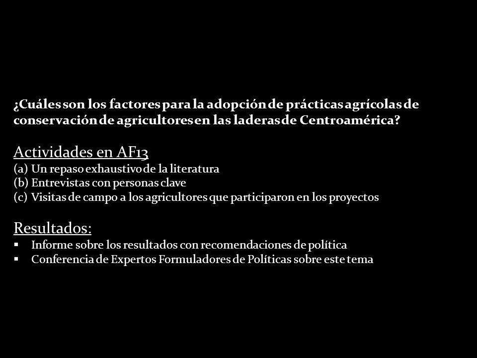¿Cuáles son los factores para la adopción de prácticas agrícolas de conservación de agricultores en las laderas de Centroamérica? Actividades en AF13
