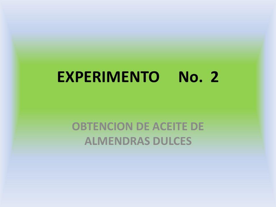 EXPERIMENTO No. 2 OBTENCION DE ACEITE DE ALMENDRAS DULCES