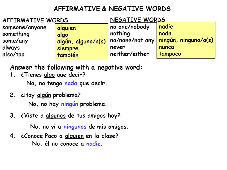 AFFIRMATIVE & NEGATIVE WORDS AFFIRMATIVE WORDS someone/anyone something some/any always also/too NEGATIVE WORDS no one/nobody nothing no/none/not any