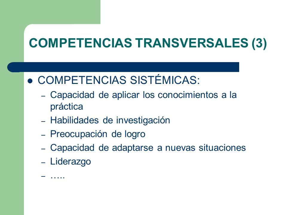 COMPETENCIAS TRANSVERSALES (3) COMPETENCIAS SISTÉMICAS: – Capacidad de aplicar los conocimientos a la práctica – Habilidades de investigación – Preocu