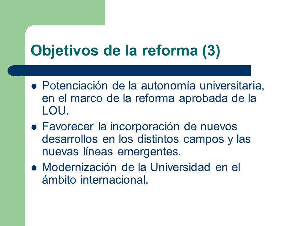 Objetivos de la reforma (3) Potenciación de la autonomía universitaria, en el marco de la reforma aprobada de la LOU. Favorecer la incorporación de nu