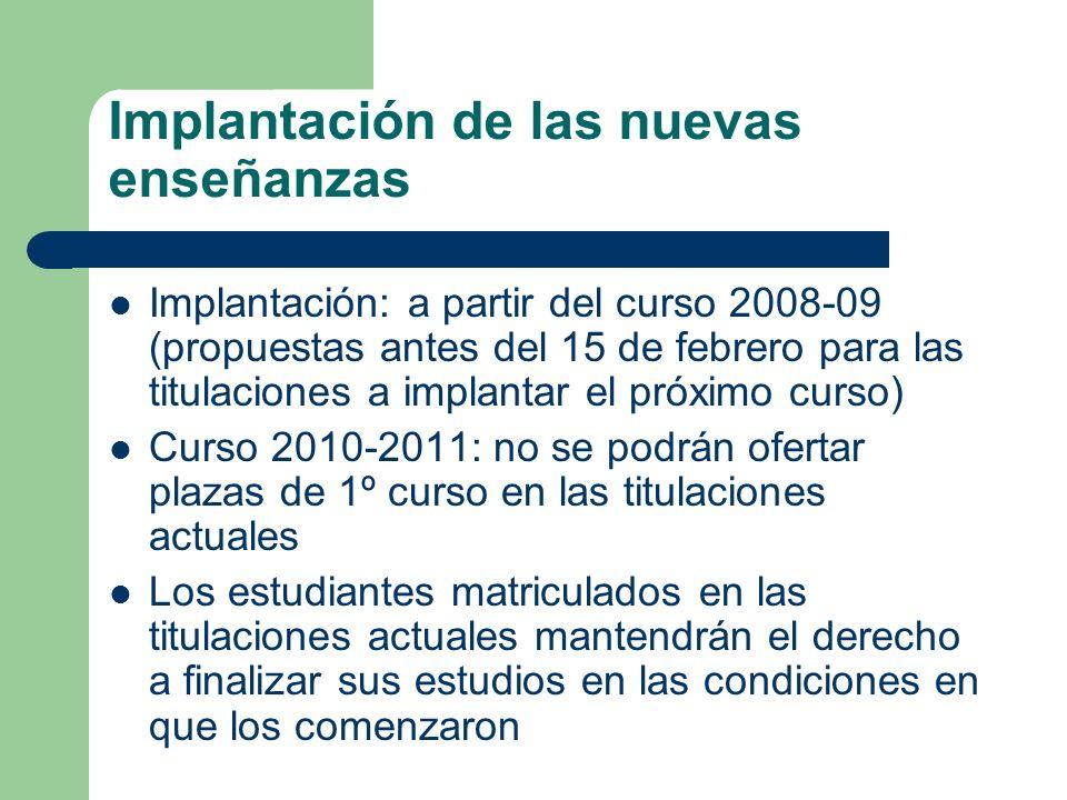 Implantación de las nuevas enseñanzas Implantación: a partir del curso 2008-09 (propuestas antes del 15 de febrero para las titulaciones a implantar e