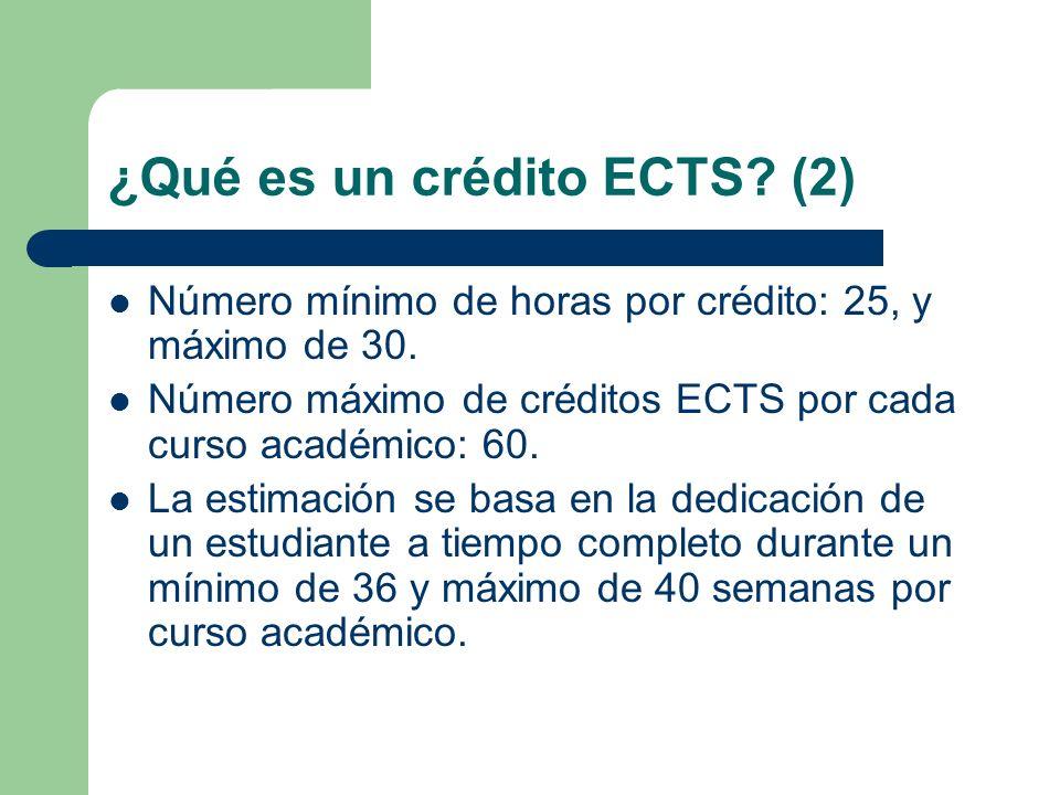 ¿Qué es un crédito ECTS? (2) Número mínimo de horas por crédito: 25, y máximo de 30. Número máximo de créditos ECTS por cada curso académico: 60. La e