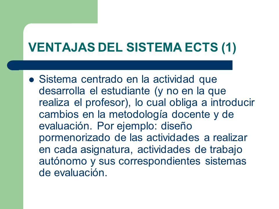 VENTAJAS DEL SISTEMA ECTS (1) Sistema centrado en la actividad que desarrolla el estudiante (y no en la que realiza el profesor), lo cual obliga a int