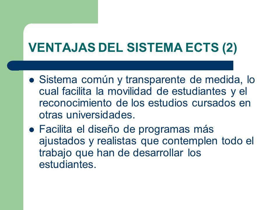 VENTAJAS DEL SISTEMA ECTS (2) Sistema común y transparente de medida, lo cual facilita la movilidad de estudiantes y el reconocimiento de los estudios