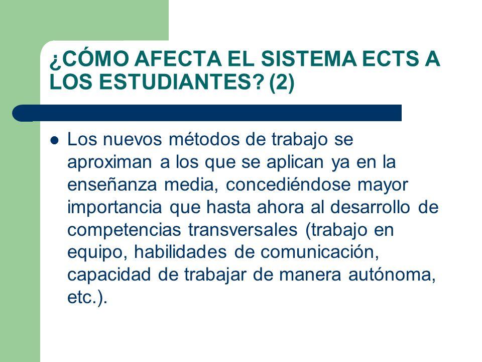 ¿CÓMO AFECTA EL SISTEMA ECTS A LOS ESTUDIANTES? (2) Los nuevos métodos de trabajo se aproximan a los que se aplican ya en la enseñanza media, concedié