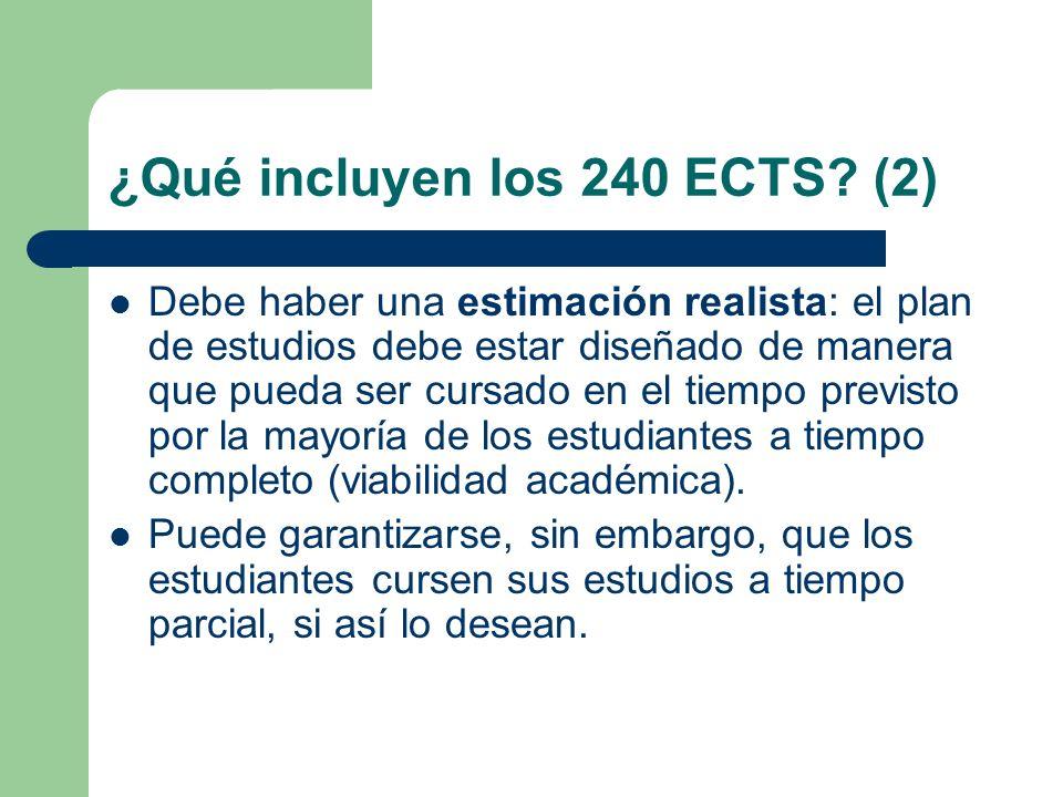 ¿Qué incluyen los 240 ECTS? (2) Debe haber una estimación realista: el plan de estudios debe estar diseñado de manera que pueda ser cursado en el tiem