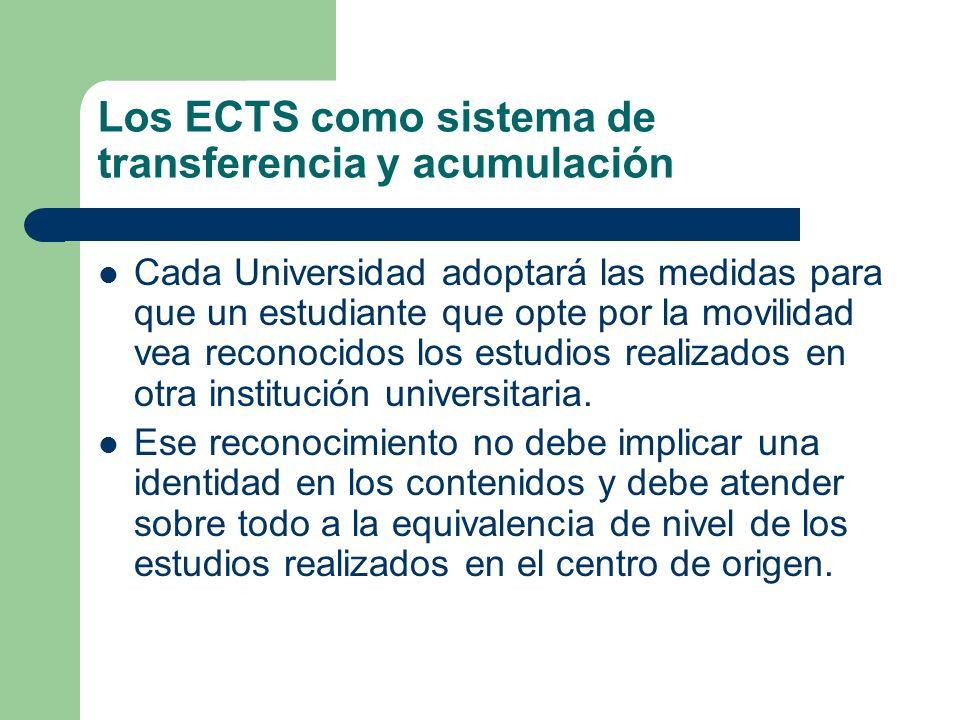 Los ECTS como sistema de transferencia y acumulación Cada Universidad adoptará las medidas para que un estudiante que opte por la movilidad vea recono