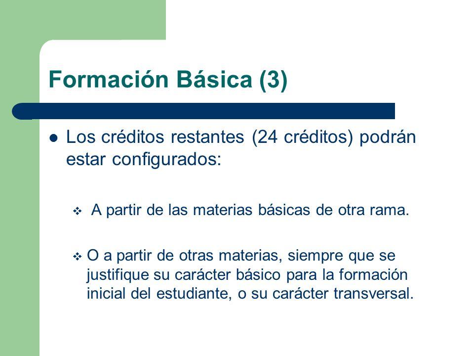 Formación Básica (3) Los créditos restantes (24 créditos) podrán estar configurados: A partir de las materias básicas de otra rama. O a partir de otra