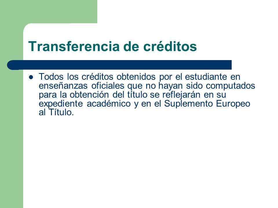 Transferencia de créditos Todos los créditos obtenidos por el estudiante en enseñanzas oficiales que no hayan sido computados para la obtención del tí