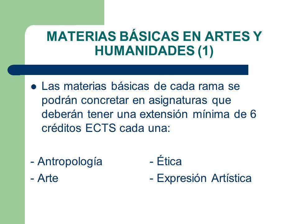 MATERIAS BÁSICAS EN ARTES Y HUMANIDADES (1) Las materias básicas de cada rama se podrán concretar en asignaturas que deberán tener una extensión mínim