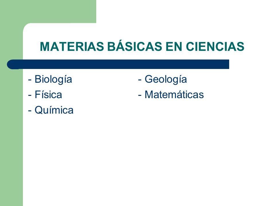 MATERIAS BÁSICAS EN CIENCIAS - Biología - Geología - Física- Matemáticas - Química