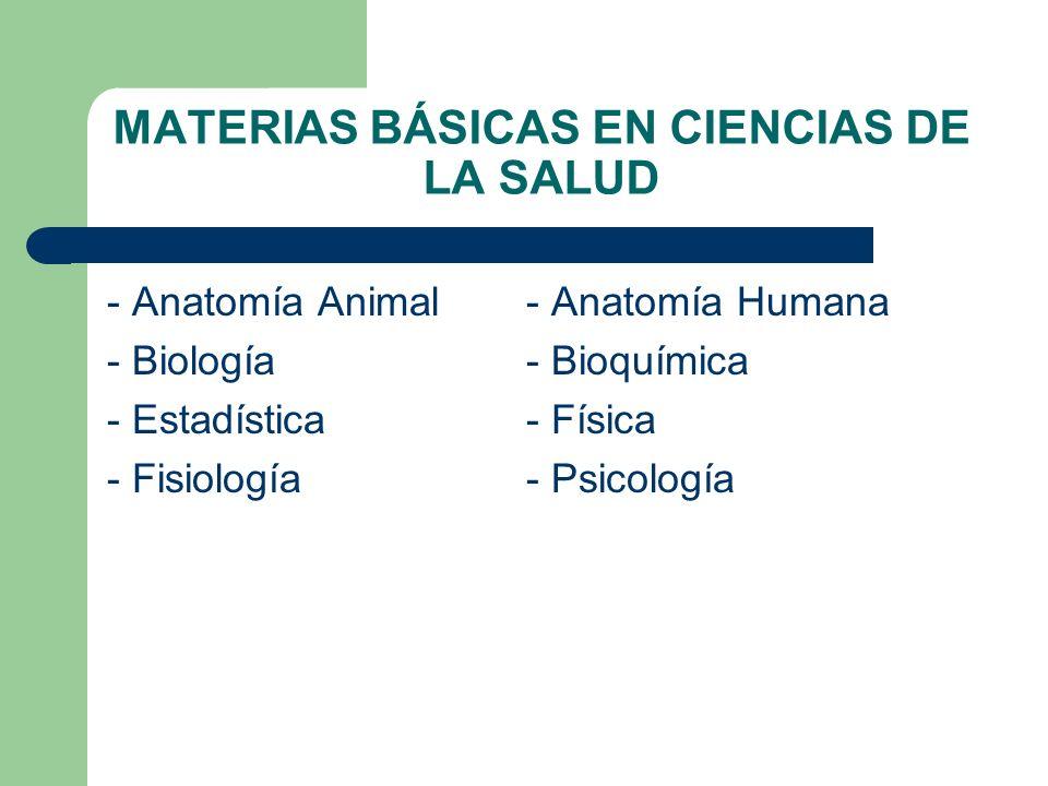 MATERIAS BÁSICAS EN CIENCIAS DE LA SALUD - Anatomía Animal- Anatomía Humana - Biología- Bioquímica - Estadística- Física - Fisiología- Psicología
