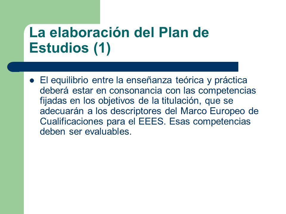 La elaboración del Plan de Estudios (1) El equilibrio entre la enseñanza teórica y práctica deberá estar en consonancia con las competencias fijadas e