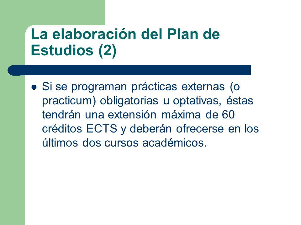 La elaboración del Plan de Estudios (2) Si se programan prácticas externas (o practicum) obligatorias u optativas, éstas tendrán una extensión máxima