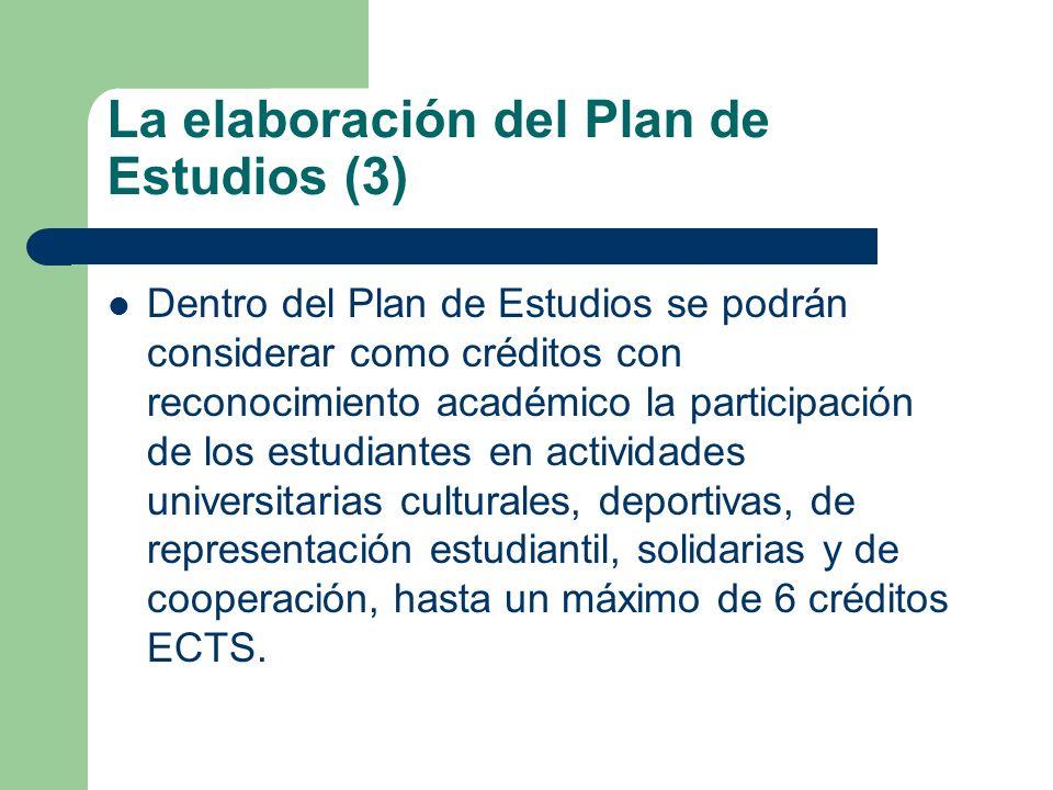 La elaboración del Plan de Estudios (3) Dentro del Plan de Estudios se podrán considerar como créditos con reconocimiento académico la participación d