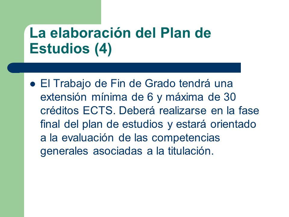 La elaboración del Plan de Estudios (4) El Trabajo de Fin de Grado tendrá una extensión mínima de 6 y máxima de 30 créditos ECTS. Deberá realizarse en