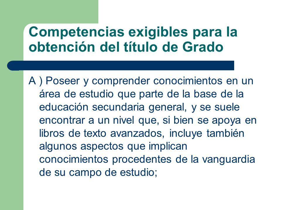 Competencias exigibles para la obtención del título de Grado A ) Poseer y comprender conocimientos en un área de estudio que parte de la base de la ed